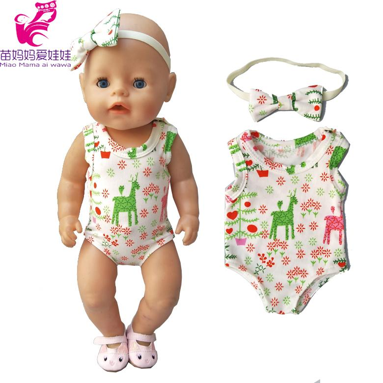 For Zapf Baby Doll Clothes Reindeer Christmas Bikini For Baby Born