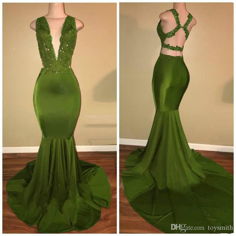 Sexy African Girl Deep V-Neck Sequins Party Prom Dress Elegant Satin Mermaid Lace Applique Backless Evening Dress