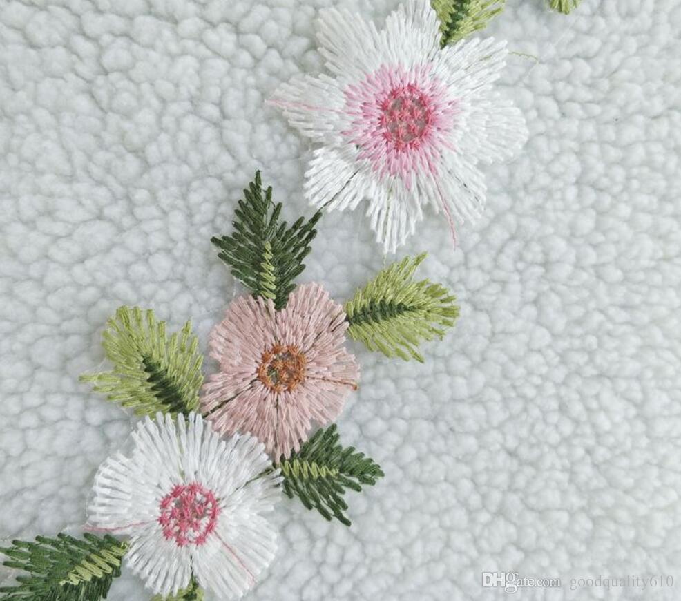 5yard Belle Fleur Brodée Dentelle En Mousseline De Soie Garniture Pour La Couture Artisanat DIY Robe De Mariée Poupée Bébé Vêtements