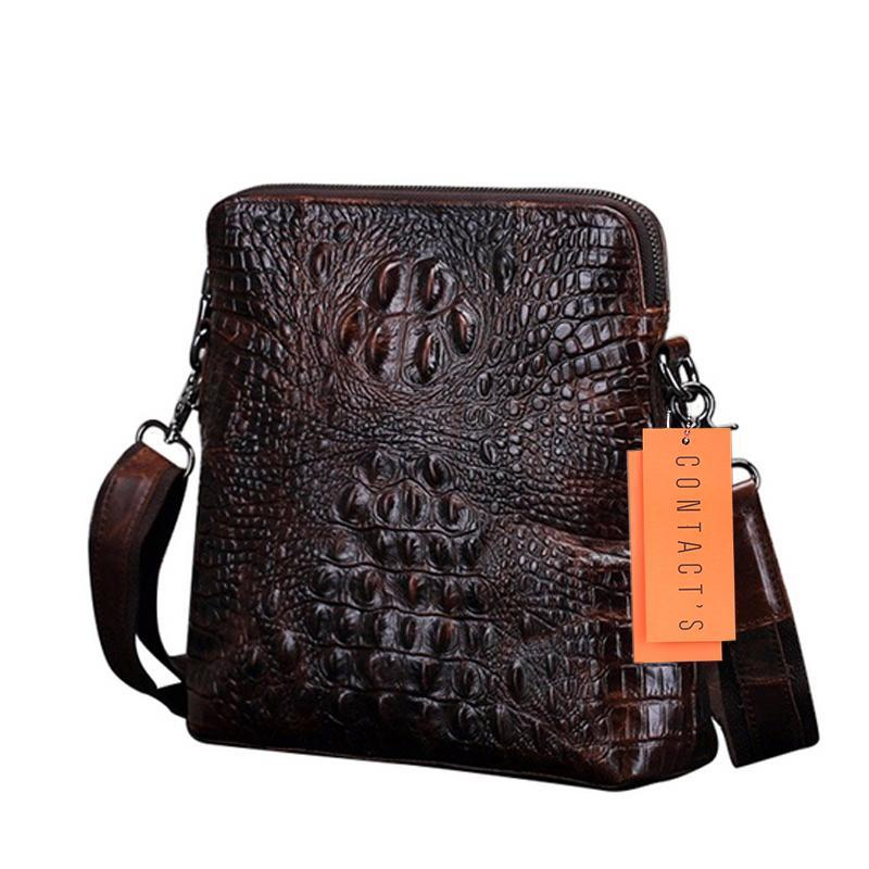 eaaa0cfb8b Wholesale- CONTACT S New Fashion Alligator Genuine Leather Bag Men ...