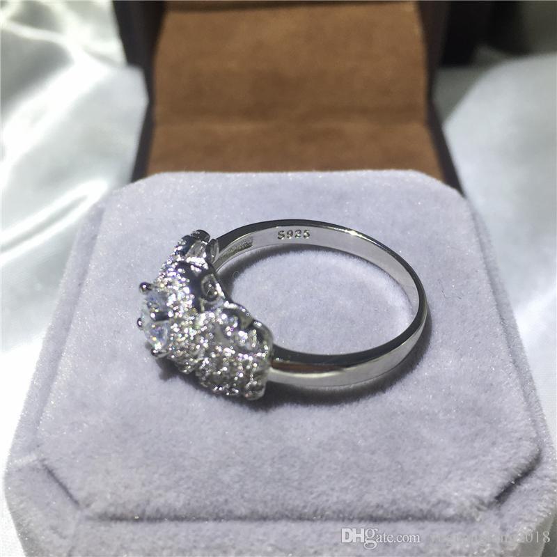 2017 Güzel Takı 925 Ayar gümüş yüzük 1ct beyaz 5A Diamonique Cz Nişan kadınlar için düğün band yüzük