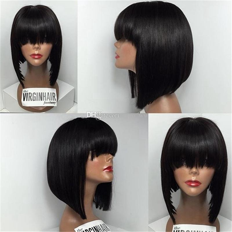 Silk Straight Brazilian Full Lace Bob Wigs With Bangs Short Lace Front Human Hair Wigs Top Quality For African American Women