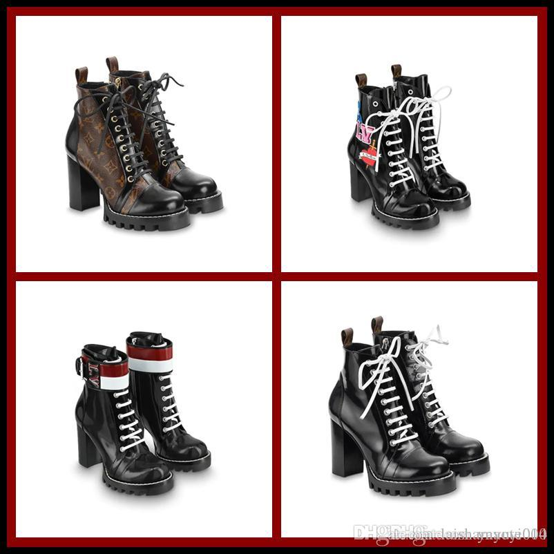 411b5fb7f65a5 6 Stil Damen kurze Stiefel dicken Boden Martin Stiefel Modische komfortable  Leder Material vorderen Wasser Tisch, 5cm high heel.size35-41