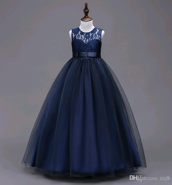 Long Tutus for Girls New Arrival Children Lace Prom Dresses Ball Gown Kids Blue Pink