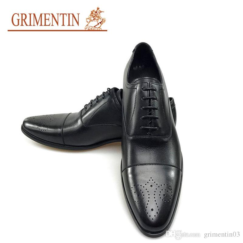 Grimentin 2018 New Men Formal Shoes For Wedding Genuine Leather