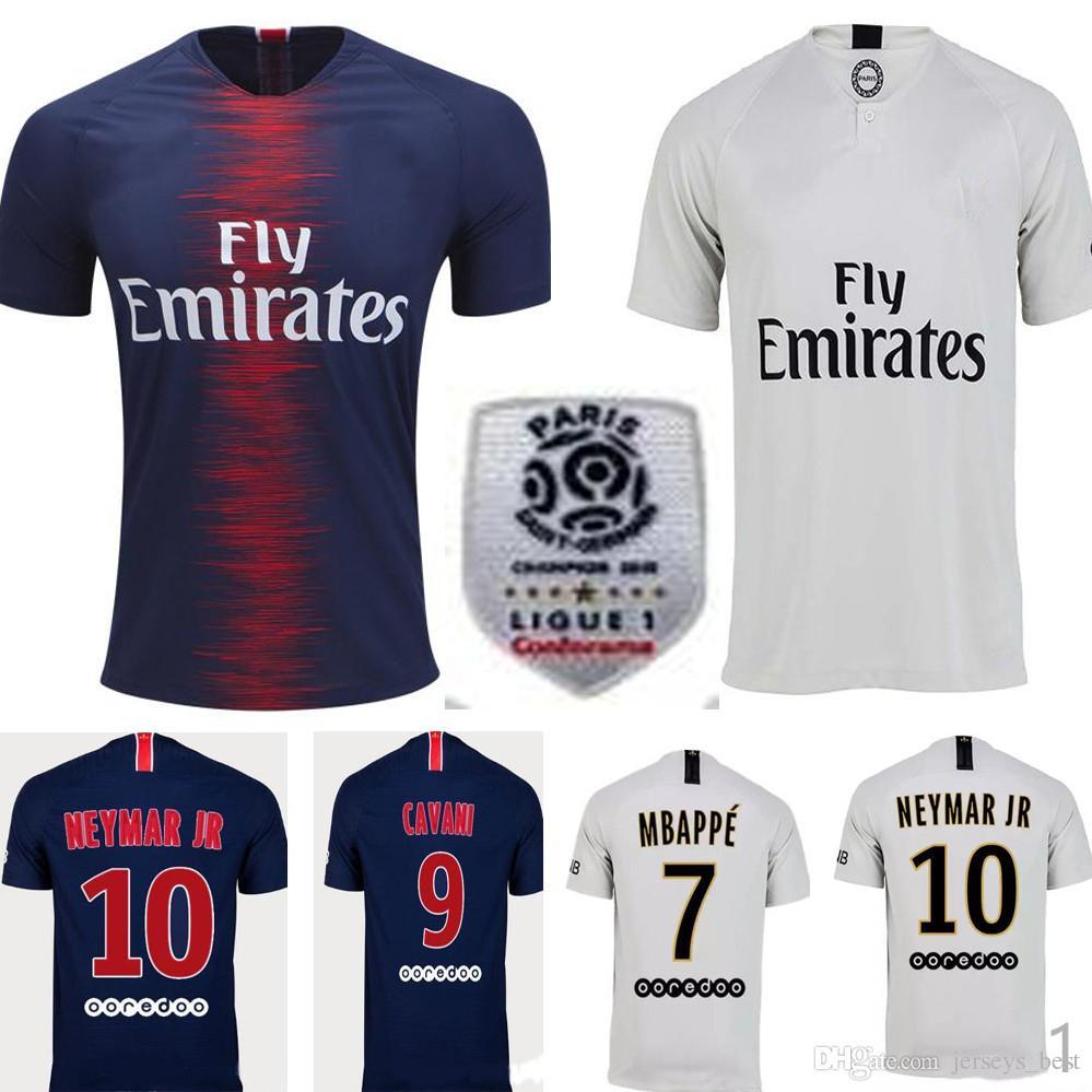 fdd59a1d7 Compre 2018 2019 Paris Camisa De Futebol 18 19 Mbappe CAVANI PSG Camisas De  Futebol Survetement Maillot De Pé Personalizar Uniforme Ligue Remendo De ...