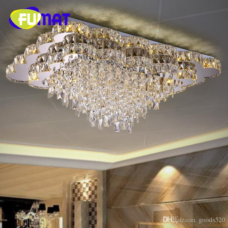 Living room lights rectangle crystal lamp led ceiling light modern brief remote control personalized discoloration