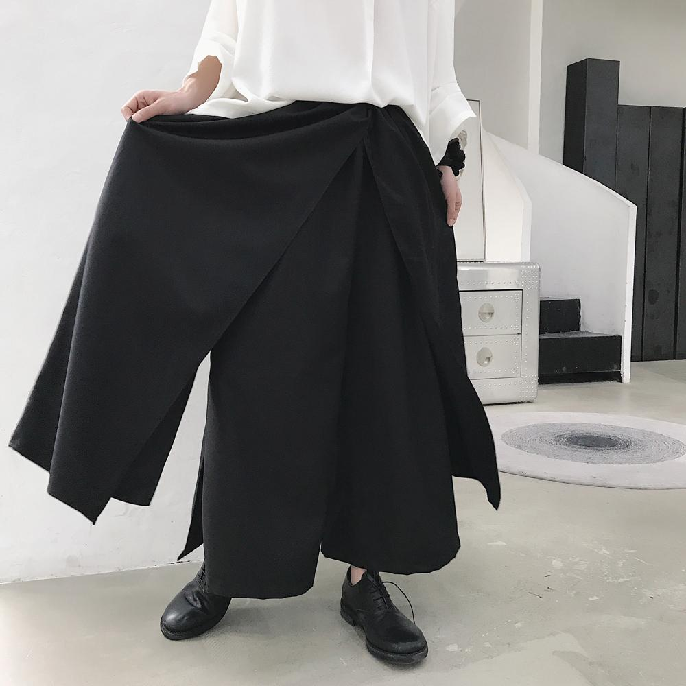 0e980adfc1 2018 New Japanese men's loose casual wide leg pants hair stylist  personality skirt pants fashion oversize nine