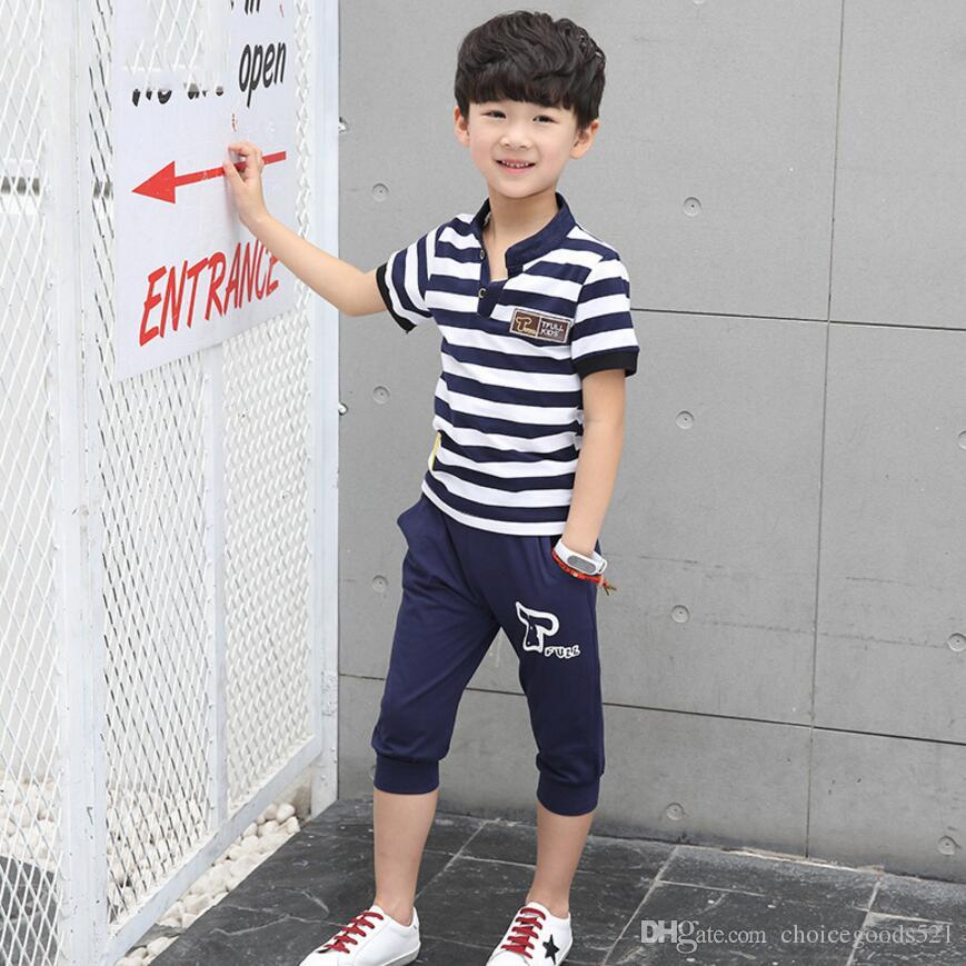 Summer kids clothes suit stripe T-shirt+short pants suit boys clothes sets 100% cotton for 8~16Y kids