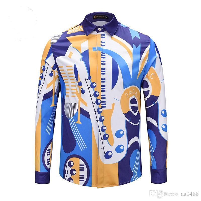 Großhandel Huy Neue Trend Mode Retro Luxus Männer Business Casual Kleid Hemd  3d Farbe Blumendruck Baumwolle Langärmelige Männer Harajuku Medusa Schlank  Sh ... b73e937850
