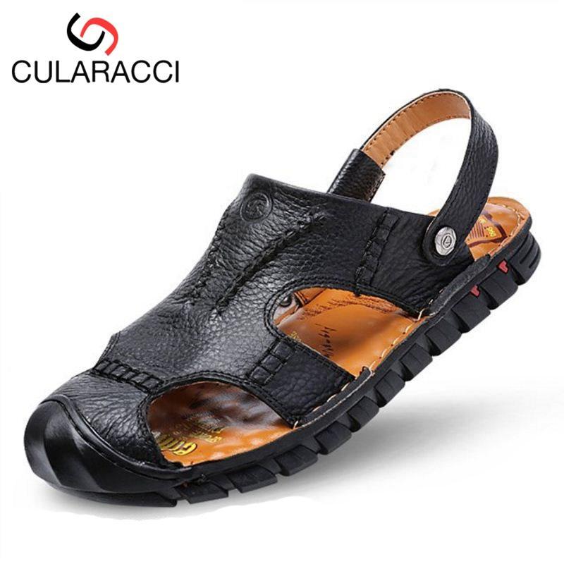 Verano Calzado Mano 44 Tamaño Sandalias Real Moda Hombre Brogue Cuero A Zapatos Cularacci Hechas 38 Zapatillas Playa Hombres De PkwOX08n