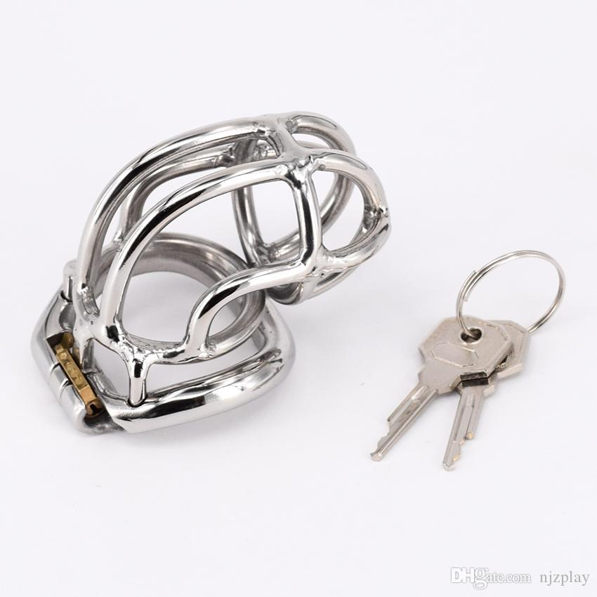 Hinged Curve Base Ring Design Stainless Steel Male Chastity Devices For Men Chastity Cage For BDSM 2.5