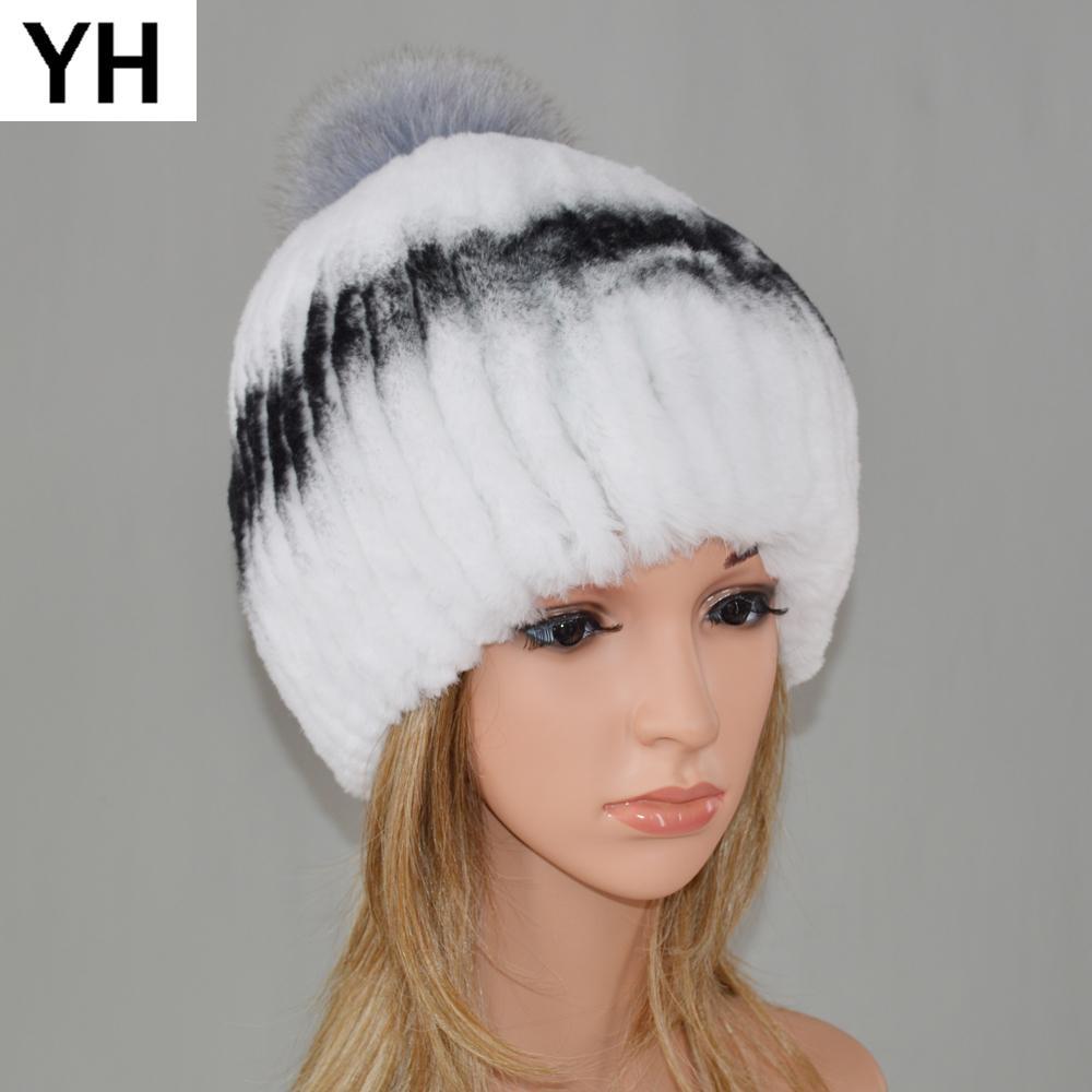 0f3bfaaa6b4 Russia Women Genuine Rex Rabbit Fur Hat Winter Warm Real Rex Rabbit Fur Cap  Striped Head Top Fox Balls Real Knitted Cap Canada 2019 From Haroln