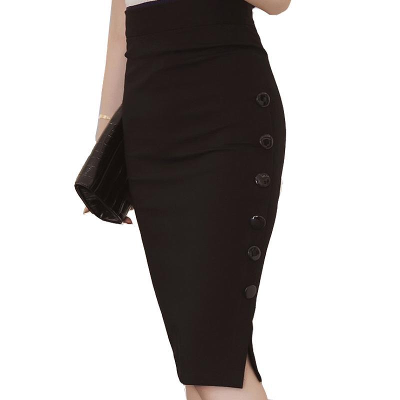 a5e5a16f3 Tallas grandes Nueva Moda 2016 Falda de Las Mujeres Falda Midi Delgado OL  Botón de Raja Abierta Sexy Falda Lápiz Delgado Señoras Elegantes Faldas ...