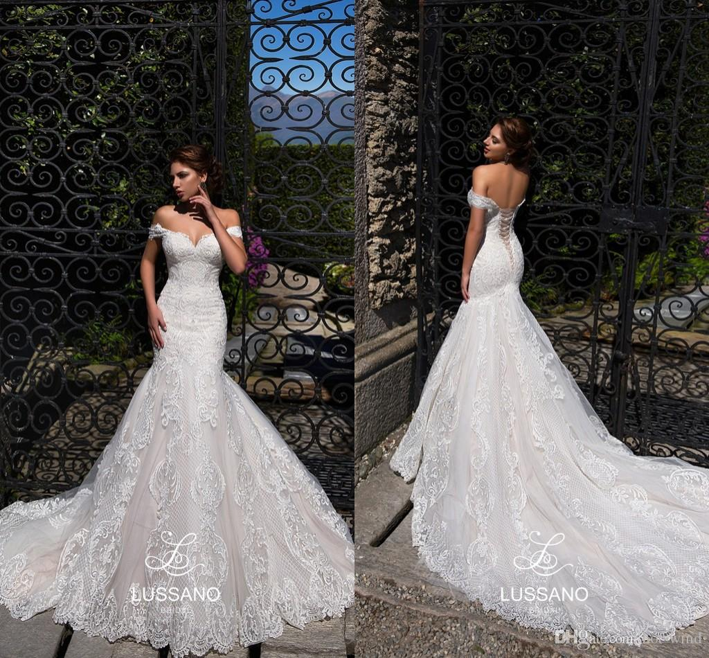 Ivory Off Shoulders Mermaid Wedding Dresses 2019 Full Lace Appliqued Sweetheart Corset Back Bridal Gowns Beach Wedding Gowns