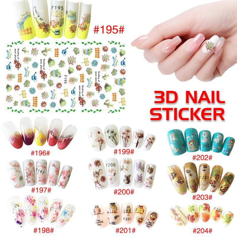 christmas nail stickers flower painting 3d manicure sticker nail art decoration art transfer decals manicure tips 3d nail designs nail pens from juhuan