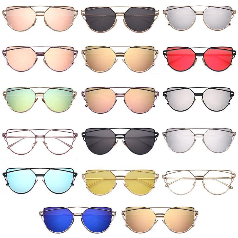 512cdca449dd43 ! HOT Cat Eye Sunglasses Metal Frame Mirror Sun Glasses For Men Women Twin  Beams Flat Lense Sunglass Classic Retro Fashion Eyewear Heart Sunglasses  Circle ...