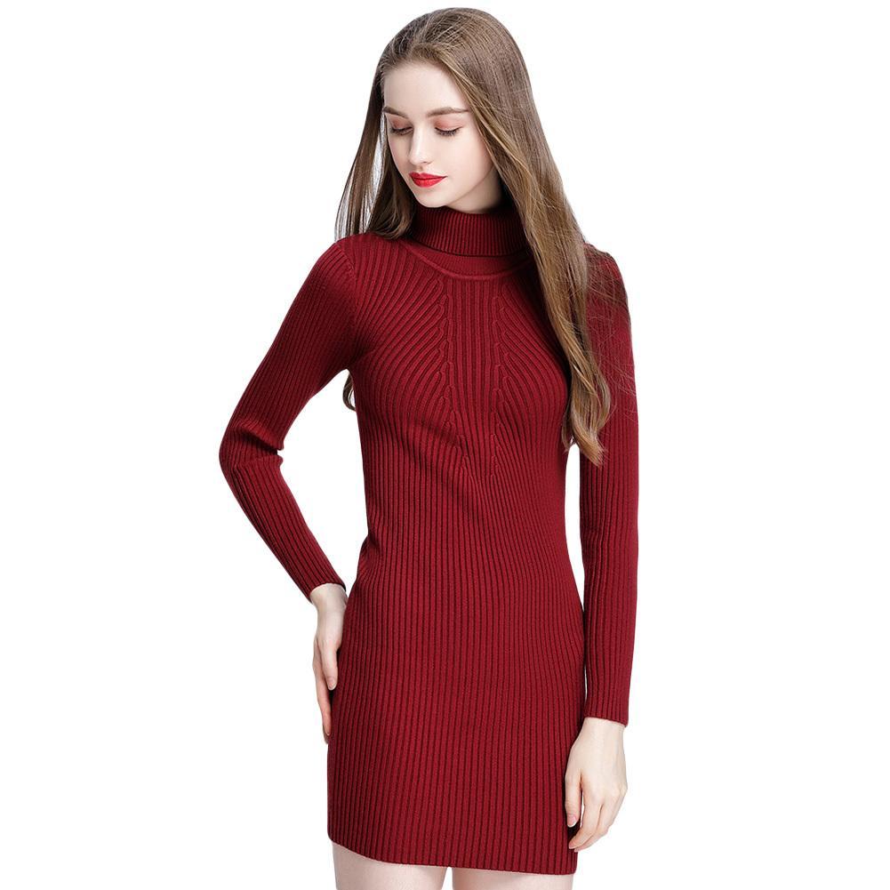 b5e6adccf3 Compre Vestido De Suéter De Las Mujeres Del Otoño Invierno De La Vendimia  Delgado Vestido De Cuello Alto Sexy Bodycon Color Sólido Casual Vestido De  Punto ...