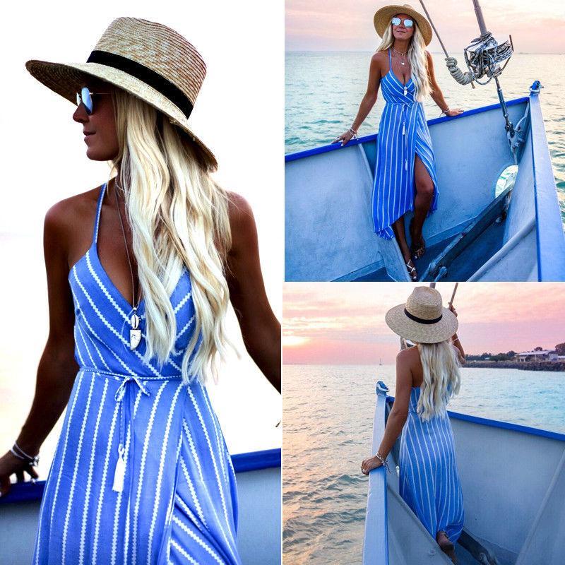 655b907157bd7 New Women Summer Dress Boho Maxi Long Striped Halter Evening Party Beach  Dresses Sundress Irregular Bohemian Holiday Dress free shipping
