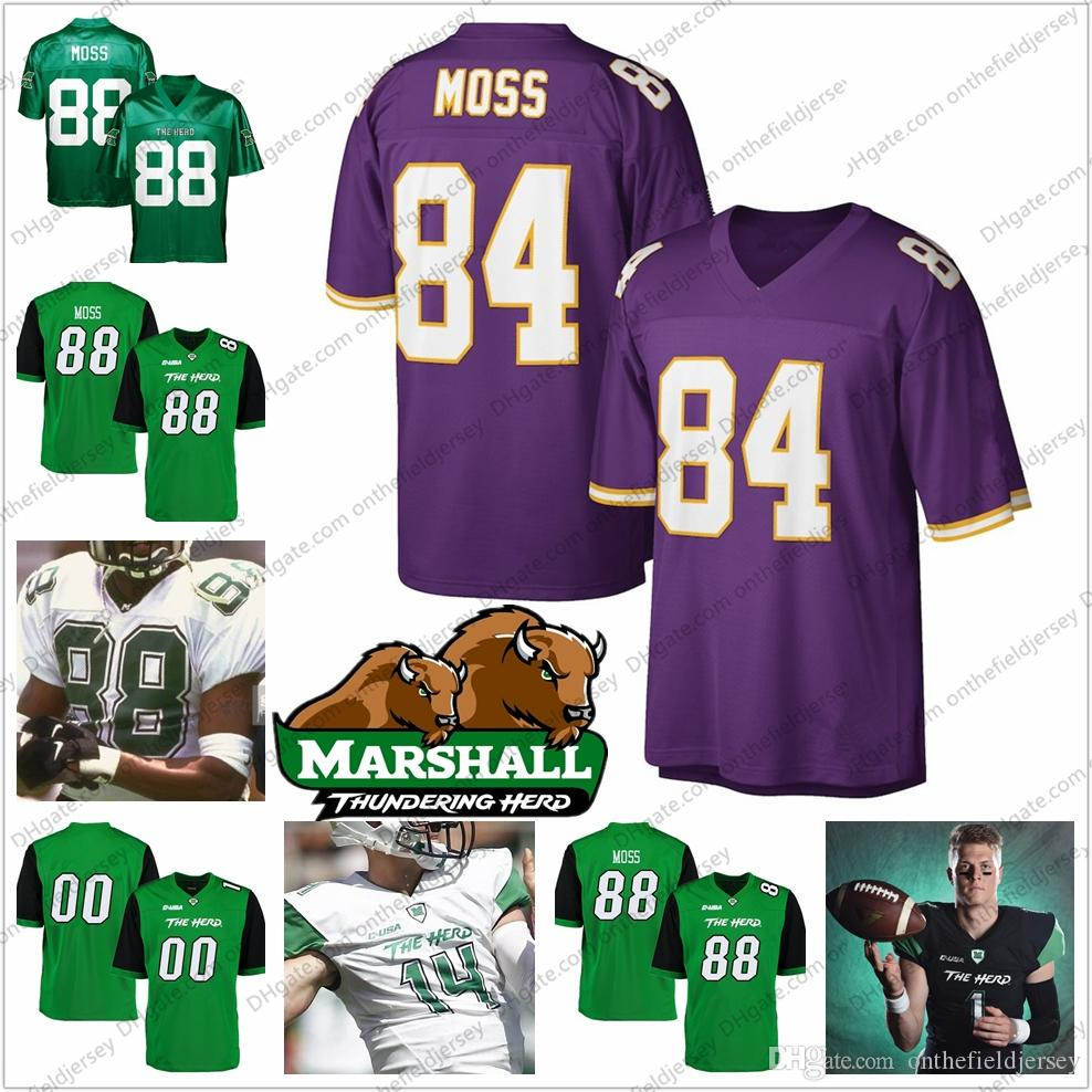 NCAA Marshall # 88 Randy Moss Green Jersey # 84 Moss Purple Vintage 18 81 Giocatore in pensione Blu scuro Rosso Bianco Retro Football Football Maglie
