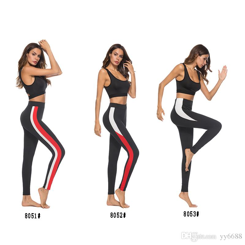fe7d722c54a4 2019 2018 Summer New Color Matching Tight Yoga Pants Fashion High Waist  Stretch Fitness Pants Comfortable Leggings From Yy6688