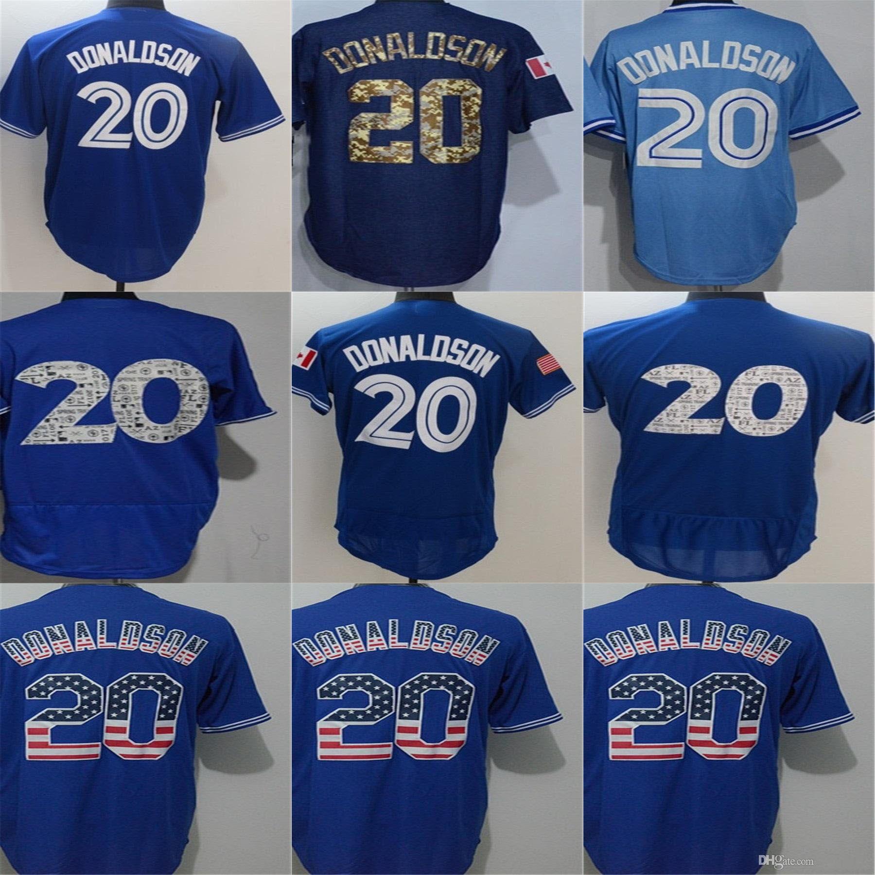 07498a0e3 Cheap Mens Toronto #20 Josh Donaldson Blue Cool Flex Base Top ...