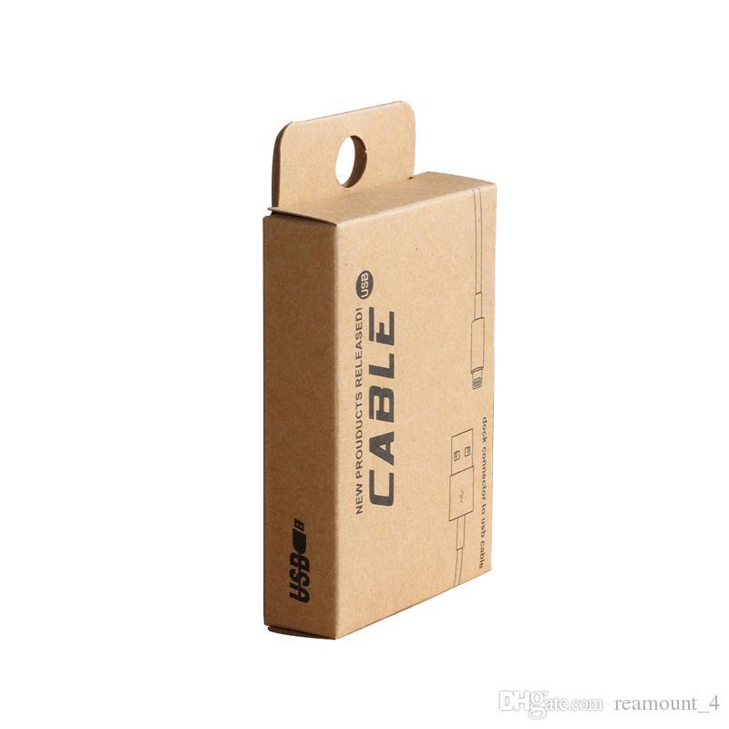 kundenspezifischer Paket-Großhandelskasten für 1.5M USB-Kabel für iPhone Samsung Kleinkraftpapier-Verpackenverpackung