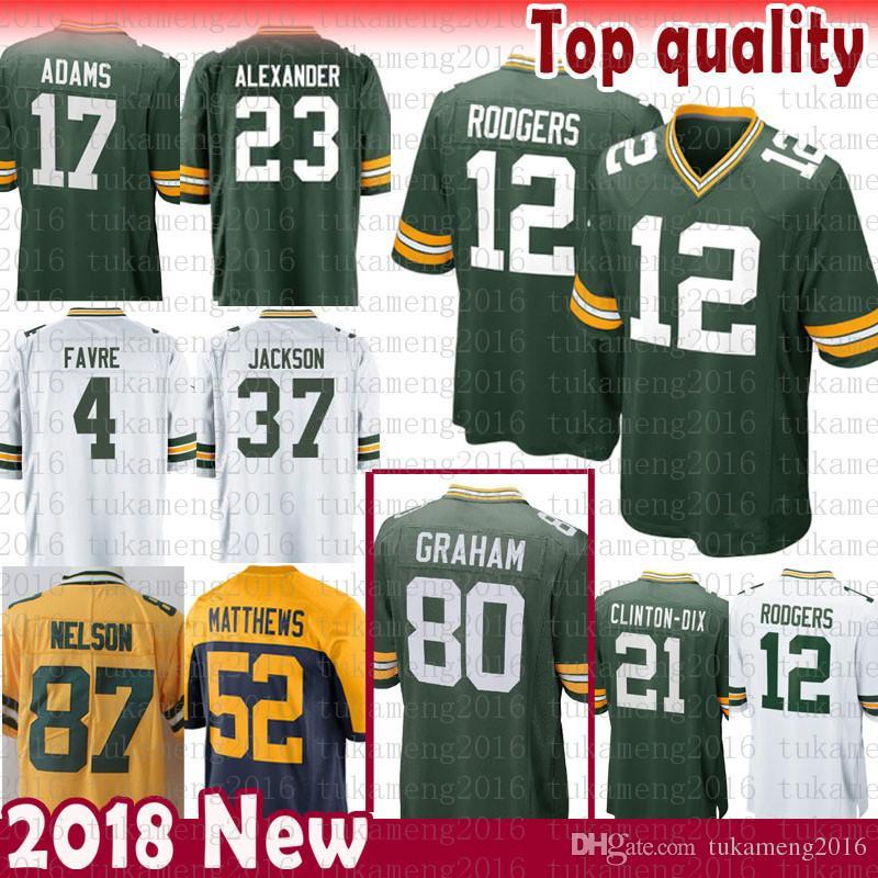 Green Bays Packers Jersey 80 Jimmy Graham 12 Aaron Rodgers 23 Jaire  Alexander 37 Jackson 4 Brett Favre 17 Davante Adams 52 Clay Matthews 12  Aaron Rodgers 12 ... 9f34ebfc2