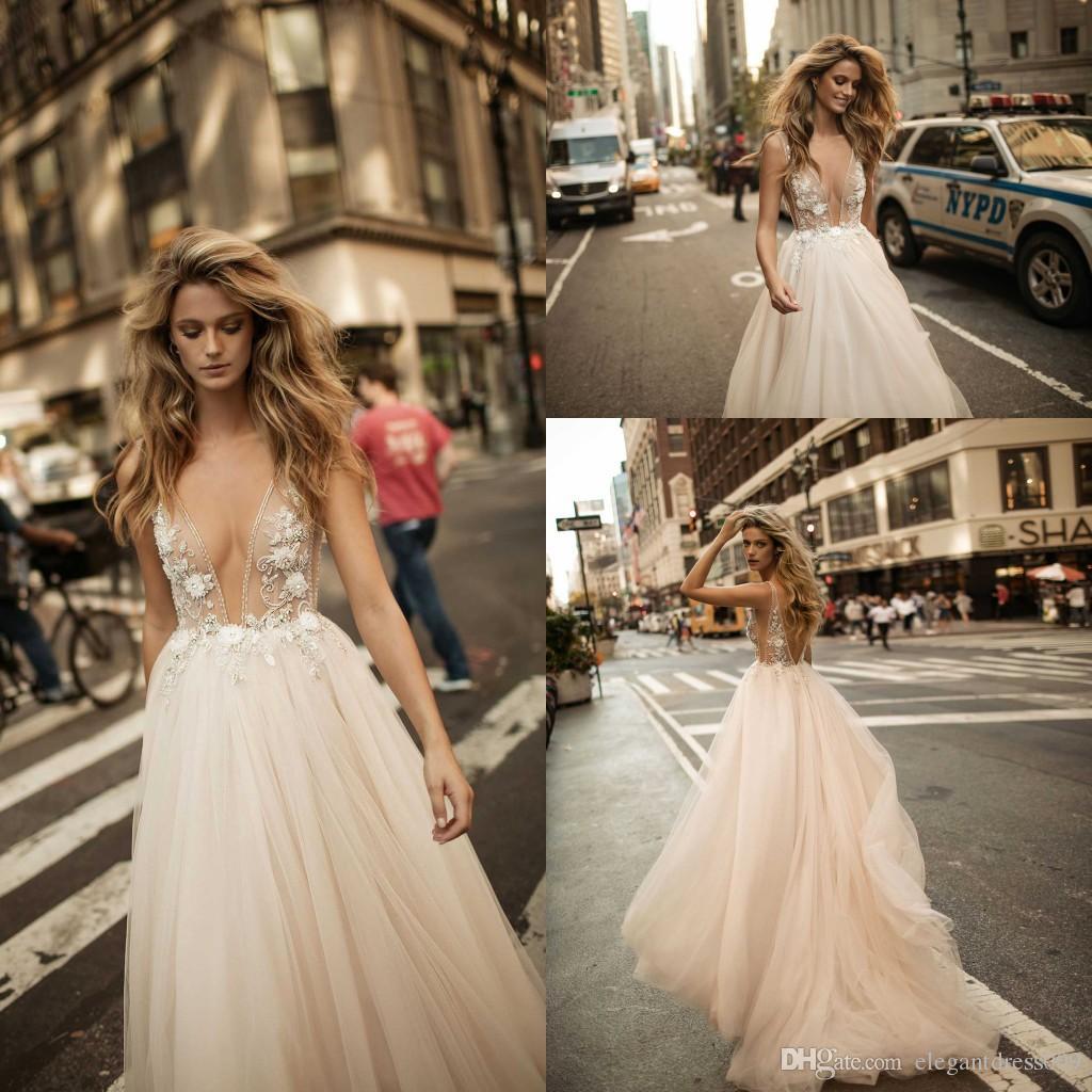 Boho Berta col en V profond sexy robes de mariée romantique dentelle Applique Voir au travers Backless plage bohème mariage robe de mariée