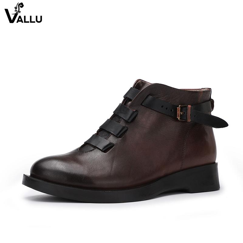 01825c74609 Italian Cross Strap Vintage Ankle Boots Female Latest Buckle Design Women  Original Leather Short Booties Lady Chunky Heel Shoes Cowboy Boots Chelsea  Boots ...