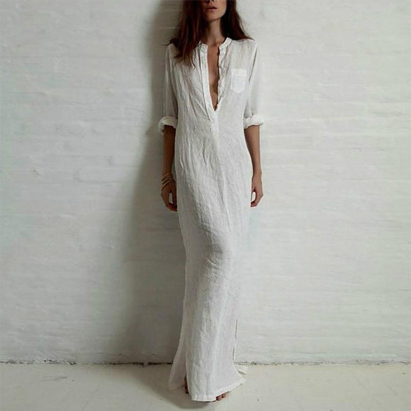 ab207866a4 Autumn Plus Size 5XL Women Shirt Dress Retro Long Maxi Dress Elegant Ladies  Long Sleeve V neck Split Long Gowns Robe female D1891301