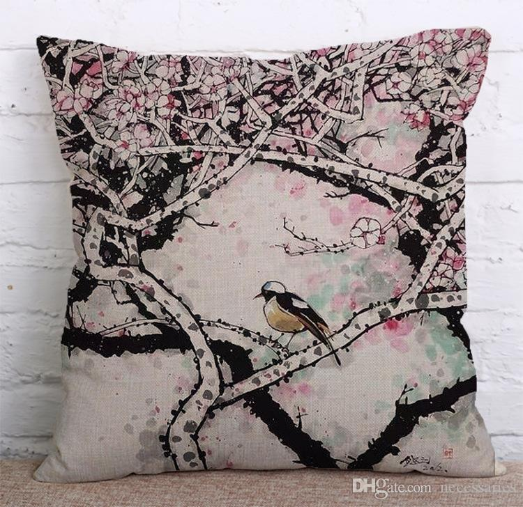 Art Chinese Style Pillow Covers Cushions Cover Wash Painting Linen Fashion Office Sofa Chair Home Textiles Cushions Pillowcase