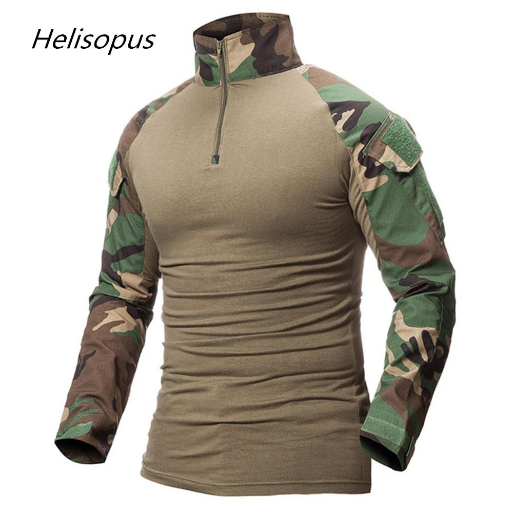 Helisopus Men Camouflage Print Army T Shirt Male Combat Tactical T
