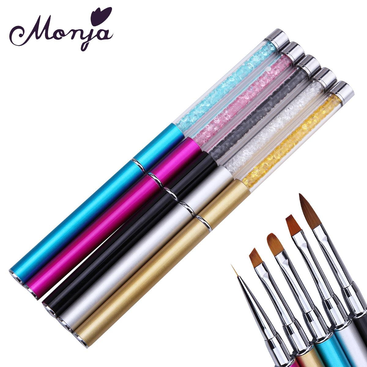 5 Style Nail Art Paint Brush Set Acrylic Liquid Powder Gel Polish ...