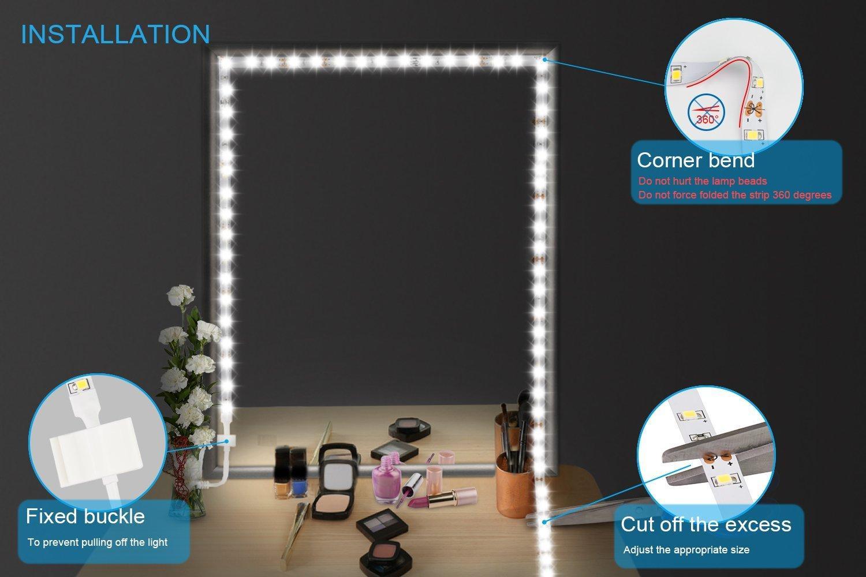 Luces LED para espejo de vanidad Juego de tiras LED 13ft / 4M 240 LEDs Luz de espejo de vanidad de maquillaje para juego de mesa de maquillaje de vanidad con atenuador y fuente de alimentación
