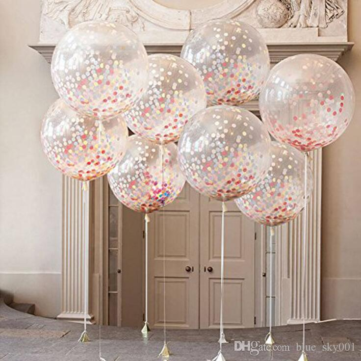 2019 36 Inch Round Rose Gold Confetti Balloons Babyshower