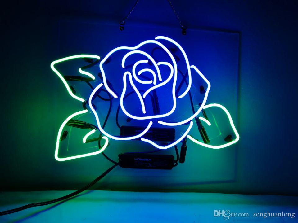 4fa80cd268 2019 Neon Signs Gift Blue Rose Beer Bar Pub Store Party KTV Flower Shop  Room Wall Windows Display Neon Light 17x14 From Zenghuanlong