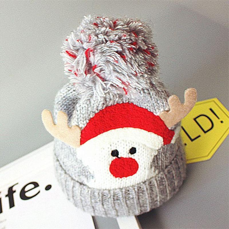 Cartoon Baby Hats woolen Beanie Crochet Outdoor Hat Winter children Beanie elk print kid Knitted Caps Warm Beanie kid421