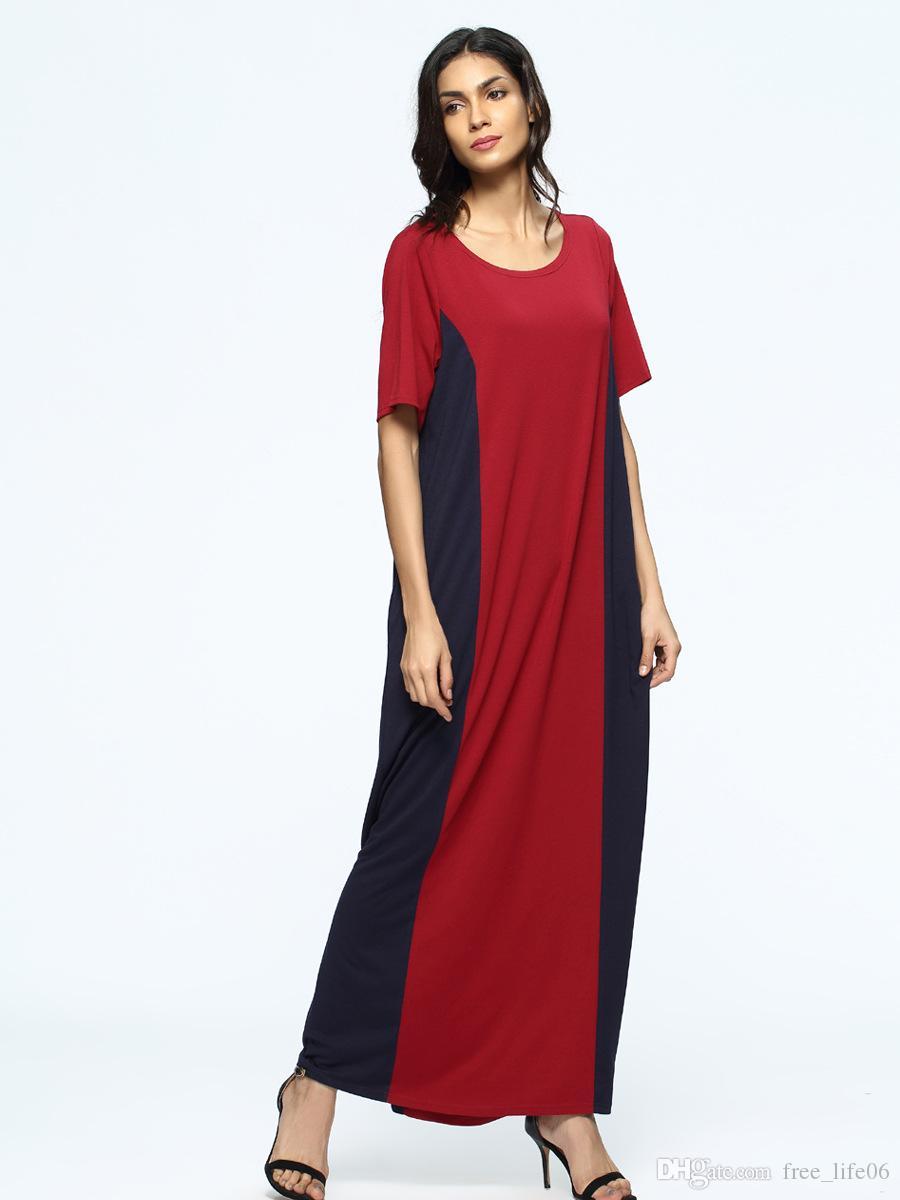Großhandel Frauen Muslimische Maxi Kleid Sommer 20 Kurzarm Rundhals  Casual Lange Kleider Abaya Türkei UAE Große Roben Von Free_life20, 20,20 €  Auf