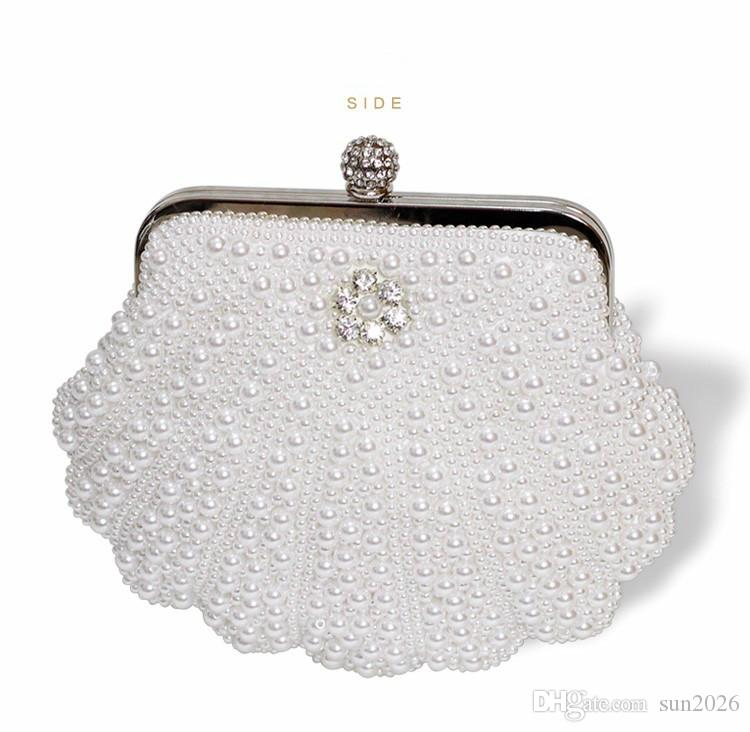 f202afef778 Hot Fashion Evening Bag Women Clutch Bags Evening Clutch Bags Wedding Bridal  Handbag Pearl Beaded Lace Rose Fashion Rhinestone Bags 2019 Crossbody Bags  ...