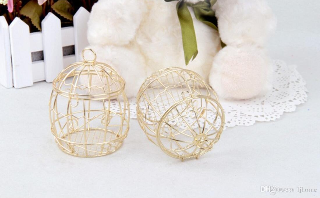décorations de mariage boîtes à bonbons européenne cage à oiseaux en métal accessoires de mariage en métal boîtes de faveur cadeau 6.7 * 8.3 cm