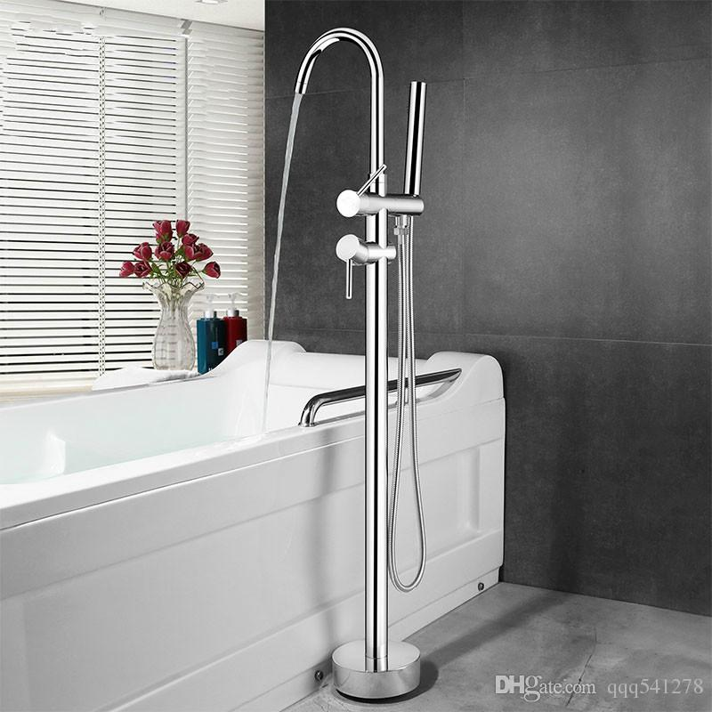 Floor Mounted Stand Bathroom Bathtub Faucet Brass High Quality ...