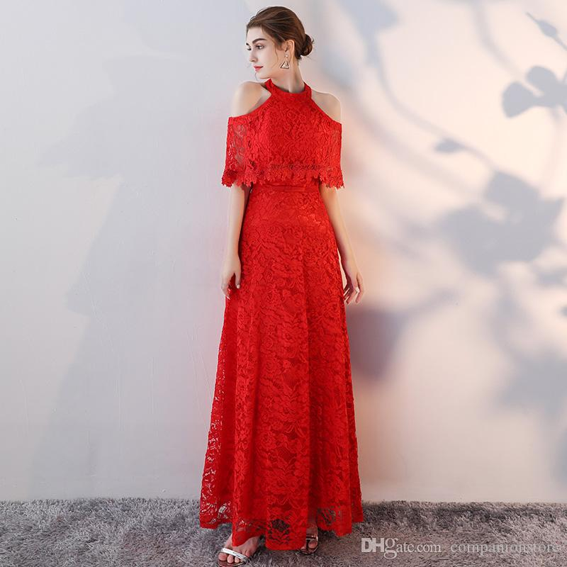 High Quality Red Full Lace Long Evening Dress O-Neck Strapless Short Sleeve Floor Length Backless Lace Up A-Line Short Sleeve Plus Size