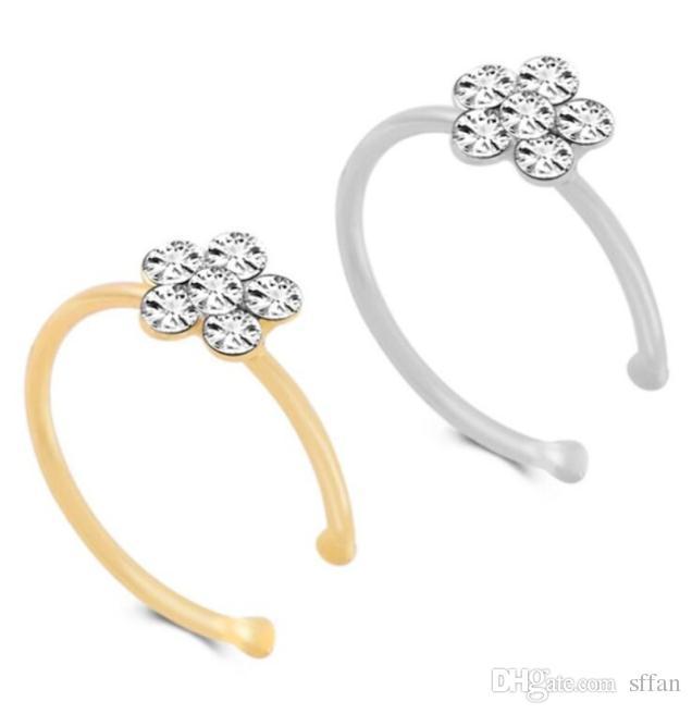 Küçük Ttthin 5 Temizle Kristaller Rhinestone Erik Çiçeği Çiçek Burun Halkası Charm Gümüş Hoop Stud Takı Sahte Piercing BodyJewelry