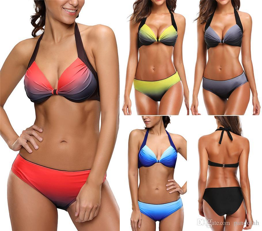eb04cdf144 2019 2017 Hot Summer Sexy Women Colorful Bikini Set Rainbow Swimsuit Beach  Wear Gradient Color Push Up Swimwear Halter Bathing Suits From Bidalina, ...