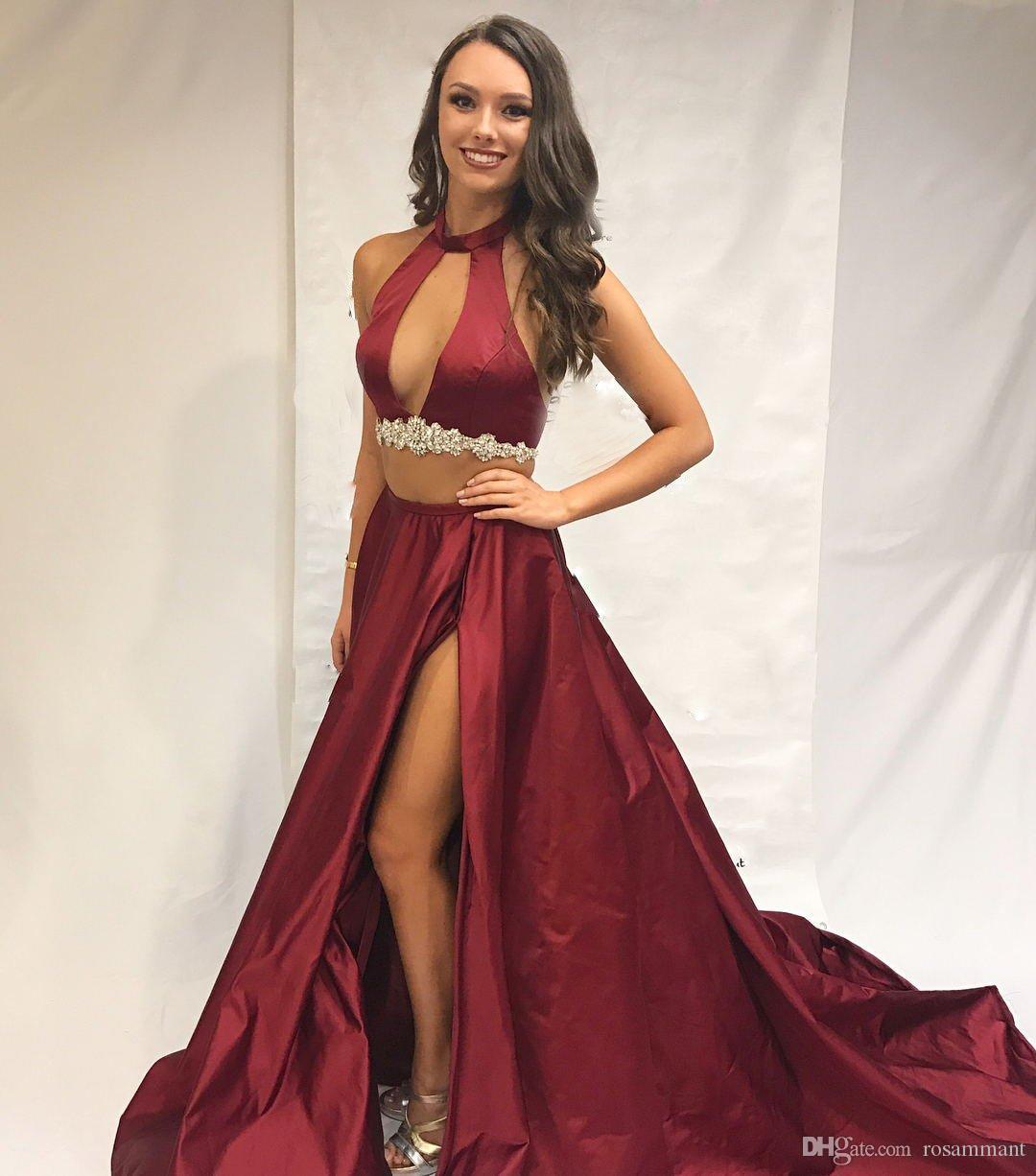 Bölünmüş Yan Uzun Halter Prom Elbise ile 2020 Burgundy Akşam Elbise Seksi İki Adet Akşam Parti Elbise