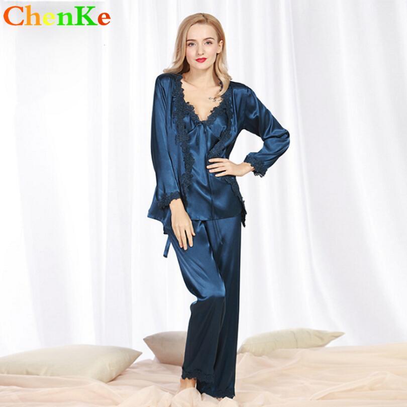 10a702f5ab ChenKe New Women Solid Lace Silk Pajama Set Sleepwear Long Sleeve 3 ...
