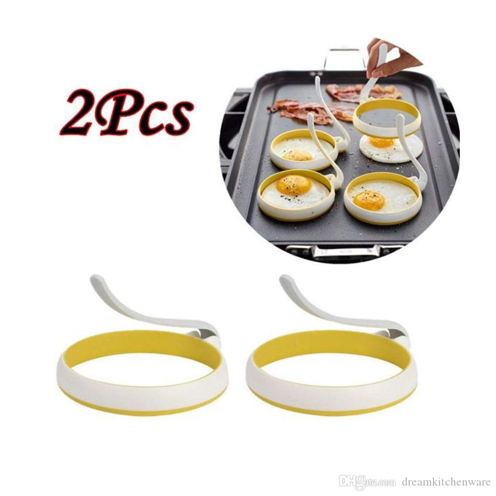 New Creative 2Pcs/set Round Shape Omelette Egg Frying Mold Round Shape for Eggs Frying Pancake Cooking Mould Kitchen Tool