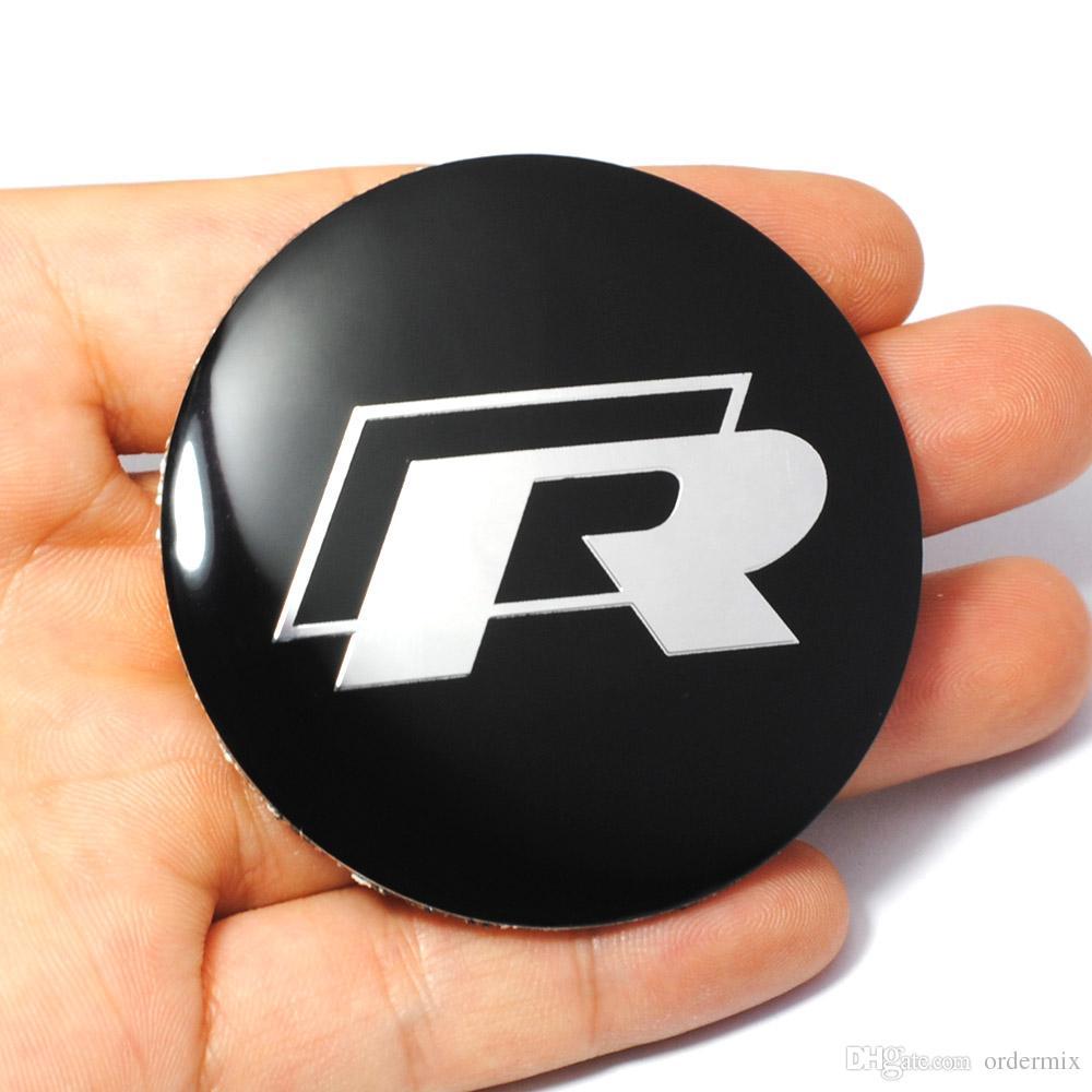 56mm R Logo Car Steering Wheel Badge Center Hub Sticker for VW Volkswagen Golf Jetta Polo Hub Cap Emblem Car Styling