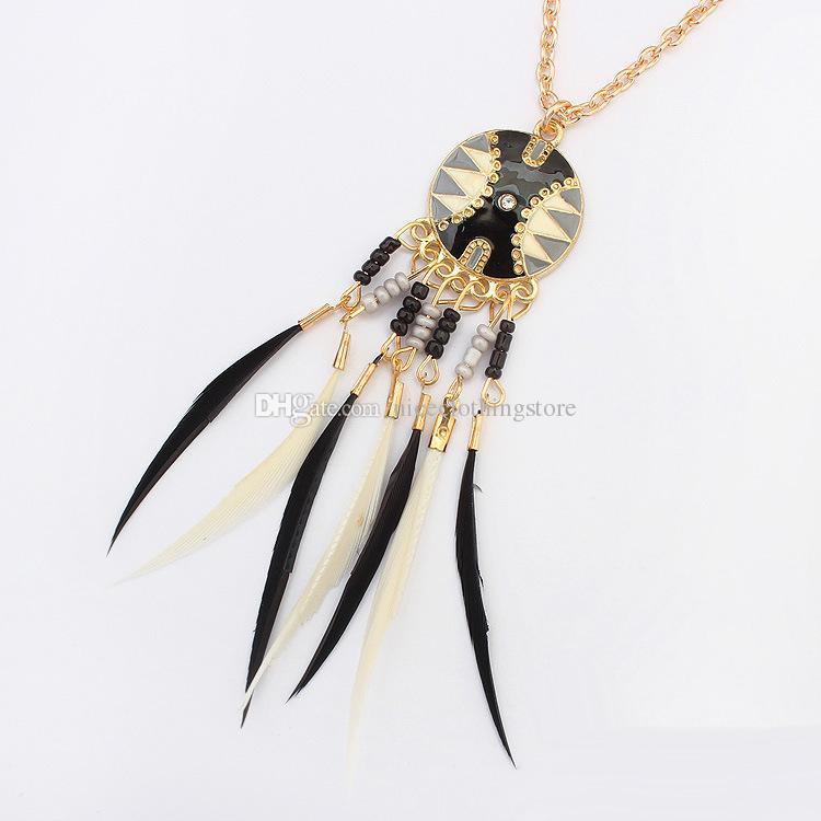 New Bohemian Jewelry Dream catcher Disc Rhinestone Feather bead Tassel Pendant Necklace For Women Charm Jewelry 4 Styles